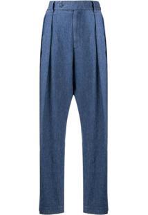 Barena Calça Pantalona Com Pregas - Azul