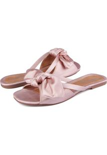Rasteira Trivalle Shoes Cetim Rosê