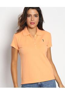Polo Slim Fit Em Piqu㪠Com Bordado- Laranja Claro & Azulaleatory