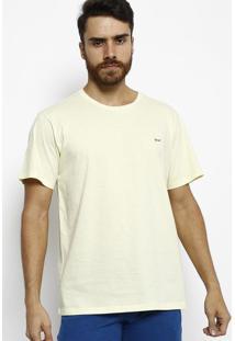Camiseta Slim Fit Com Bordado - Amarelo Claro & Azul Marogochi