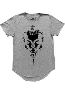 Camiseta Stoned Longline Face Buda Cinza