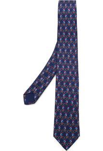 Prada Gravata De Seda - Azul
