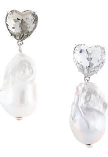 Tory Burch Par De Brincos Com Coração De Cristal E Pérola - Branco