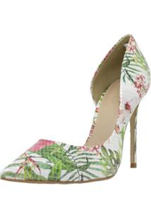 Sapato Feminino Scarpin Shepz Couro Floral - Kanui