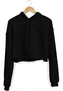 Blusa Moletom Cropped Adaption Preto - Preto - Feminino - Dafiti
