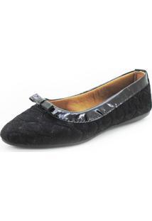 Sapatilha Gomes Shoes Couro Bico Fino Casual Macia Conforto Preto - Preto - Feminino - Dafiti