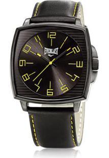 70e24e9f38d ... Relógio Pulso Masculino Everlast Analógico Pulseira Couro - Masculino- Preto+Amarelo