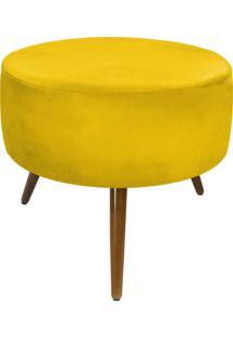 Puff Decorativo Sofia Redondo Suede Amarelo - D'Rossi