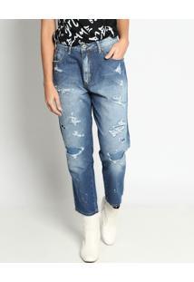 Jeans Reto Destroyed- Azul- Tritontriton
