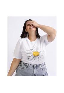T-Shirt Feminina Mindset Plus Size Margarida Manga Curta Decote Redondo Branca