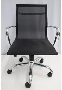 Cadeira Office Outlet Telinha Baixa Preta Cromada - 10 - Sun House