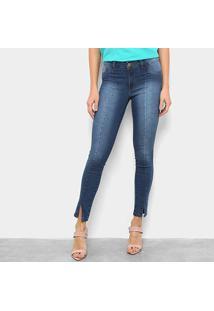 Calça Jeans Grifle Skinny Fenda Na Barra Feminina - Feminino-Azul