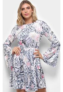 Vestido Carmim Paloma Manga Longa Sino - Feminino-Estampado