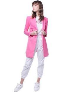 Blazer Alongado Abotoamento Duplo Pop Me Feminino - Feminino-Rosa