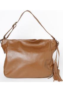 Bolsa Em Couro Edu Bolsas® Com Bag Charm- Marrom- 29Edu Bolsas
