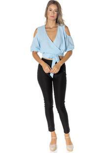 Blusa Cropped Transpassada - Azul Clarodwz