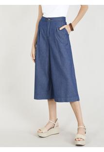 Calça Jeans Pantacourt Feminina Alfaiatada Com Bolsos Azul Médio