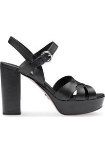 Prada Sandália Com Tiras Cruzadas - Preto