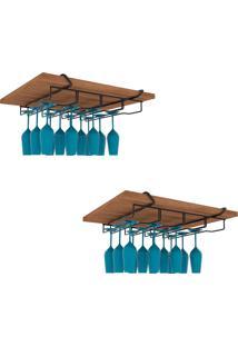 Kit 2Un Porta Taças Suspenso 12 Organizador Cozinha Bar Aço Dicarlo