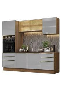 Cozinha Completa Madesa Lux 240002 Com Armário E Balcão Rustic/Cinza Rustic