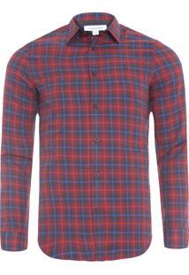 Camisa Masculina Xadrez Bordado - Vermelho