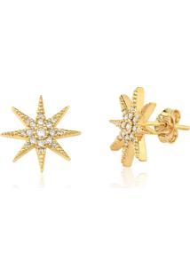 Brinco Le Diamond Estrela Com Zircônia Grande Dourado - Kanui