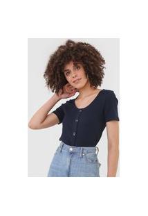 Blusa Vero Moda Canelada Azul-Marinho