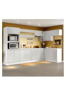 Cozinha Completa 100% Mdf Madesa Smart Modulada De Canto Frentes Branco Brilho Branco