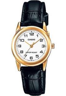 Relógio Casio Analogico Feminino - Feminino-Dourado+Preto