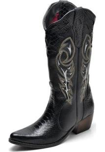 Bota Country Top Franca Shoes Anaconda Feminina - Feminino-Preto