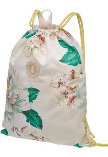 Bolsa Praiana Floral Dora - Off White & Verde- 43X35Farm