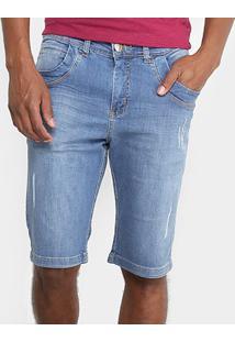 Bermuda Jeans Zamany Estonada Puídos Masculina - Masculino-Azul Claro
