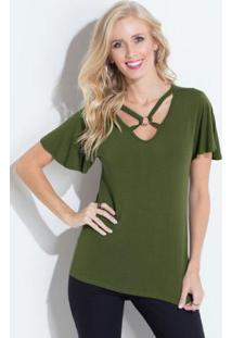 10cf76a57b ... Blusa Com Tiras No Decote Verde Quintess