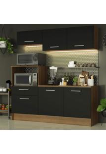 Cozinha Compacta Madesa Onix 180001 Com Armã¡Rio E Balcã£O - Rustic/Preto Marrom - Marrom - Dafiti
