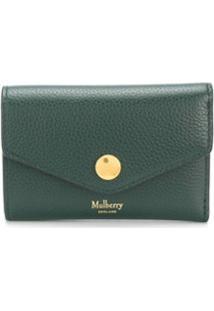 Mulberry Carteira Envelope Com Logo - Verde