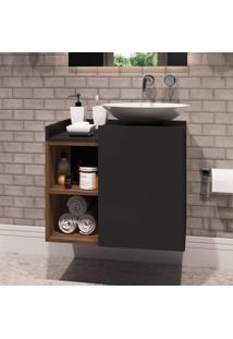 Gabinete Para Banheiro 1 Porta Beto Estilare Móveis Preto/Madeirado