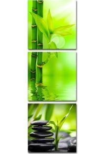 Quadro Oppen House 150X50Cm Bambu Verde Pedras Pretas Decorativo Zen