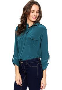 Camisa Seda Manga Longa Letage Acetinada Verde
