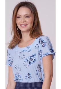 1b53cdccea ... Blusa Estampada Azul De Crepe Rabusch