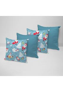 Kit 4 Capas Para Almofadas Love Decor Decorativas Happy Noel - Kanui