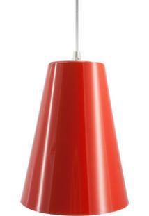 Pendente De Alumínio Com Cúpula Cone Grande Vermelho