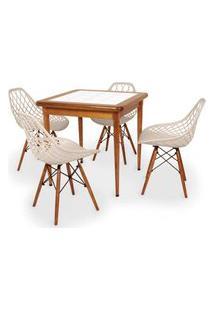 Conjunto Mesa De Jantar Em Madeira Imbuia Com Azulejo + 4 Cadeiras Vision - Nude
