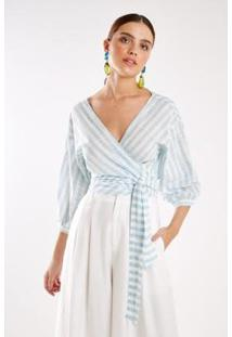 Blusa Cachecoeur Listra Riviera Sacada Feminina - Feminino-Branco+Azul Claro