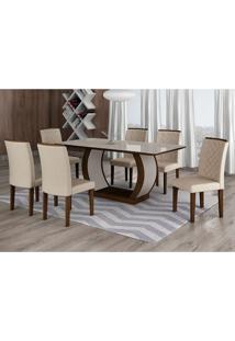 Conjunto De Mesa De Jantar Com Vidro E 6 Cadeiras Maia Iii Veludo Castor E Creme