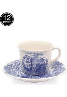 Conjunto 12Pçs Xícaras De Chá Oxford Mail Order Cena Inglesa Multicolorido