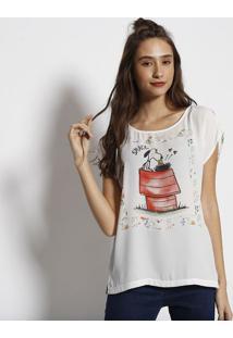 Camiseta Snoopy® Com Fendas- Branca & Vermelhaangel