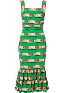 Dolce & Gabbana Vestido Midi Estampado - Verde