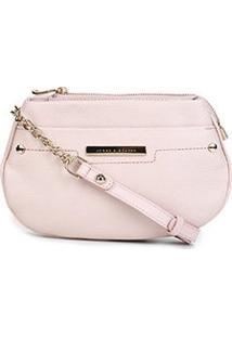 Bolsa Couro Jorge Bischoff Mini Bag 2 Divisões Feminina - Feminino-Rosa Claro