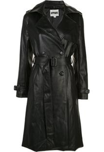 Apparis Leather Look Trench Coat - Preto