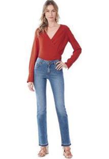 Calça Maria. Valentina Straight M. Helena Cós Intermediário Barra Desmanchada Jeans Feminina - Feminino